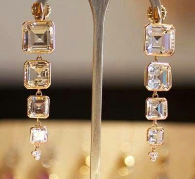 Diamond hanging earings