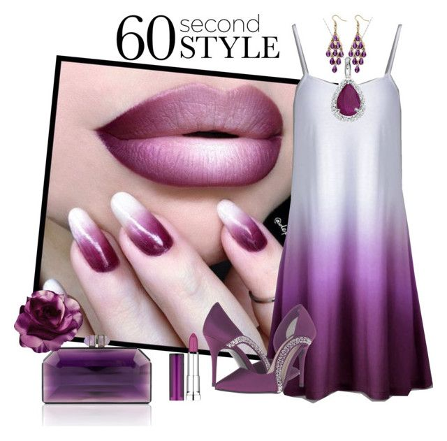 """Violet Lip"" by ester-ludwig on Polyvore featuring Caparros, Palm Beach Jewelry, Amanda Rose Collection, Maybelline, ombre and 60secondstyle"