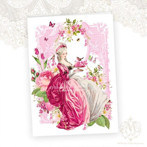 Marie Antoinette, greeting card, tea party, garden party, birthday card, high tea, pink roses, macarons, birds, tulips, spring