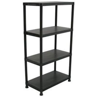 HDX 4-Shelf 15 in. D x 28 in. W x 52 in. H Black Plastic Storage Shelving Unit-17307263B - The Home Depot  sc 1 st  Pinterest & HDX 4-Shelf 15 in. D x 28 in. W x 52 in. H Black Plastic Storage ...