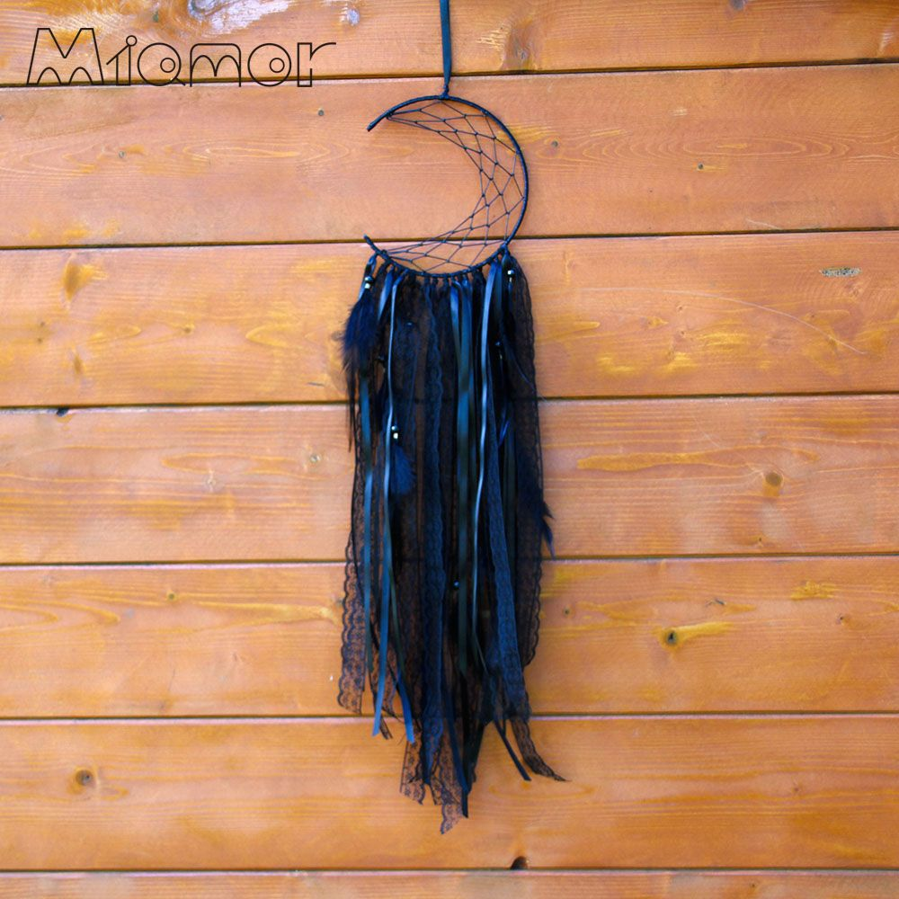 Half moon Black Dreamcatcher Handmade Dream Catcher Net With Feathers Home Wall Hanging & Bar & Party Decoration Amor0096-in Wind Chimes & Hanging Decorations from Home & Garden on Aliexpress.com | Alibaba Group
