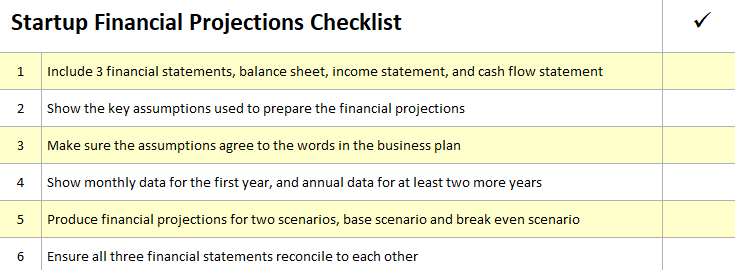 Startup Financial Projections Checklist Plan Projections Cash Flow Statement Start Up Financial
