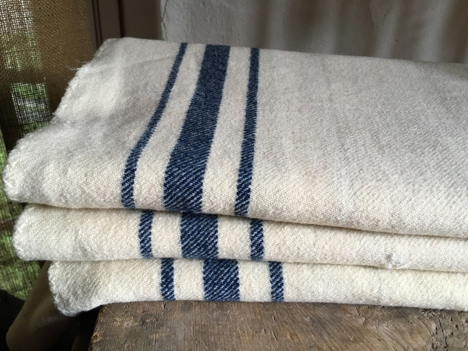 Early Antique Homespun Wool Blanket Indigo Blue   Cream Textile AAFA ... ce1f7985b