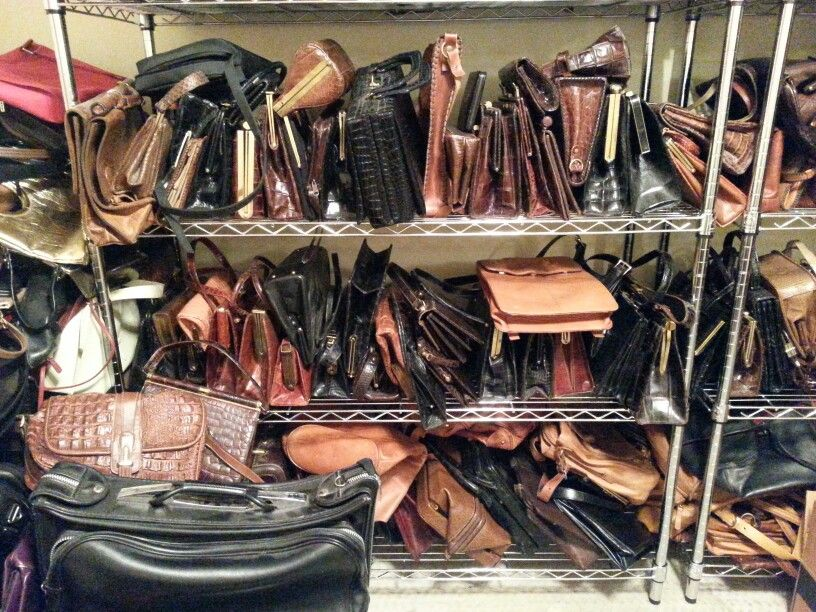 Huge lifetime collection of Alligator and other exotic leather handbags.  This represents a small portion of the collection.