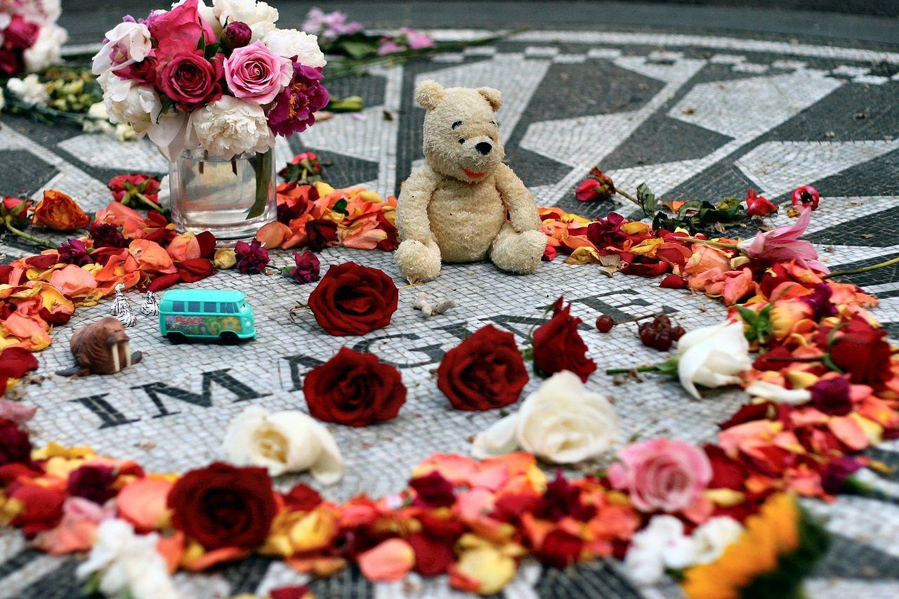 The Strawberry Fields memorial in honor of John Lennon in Central Park, New York.