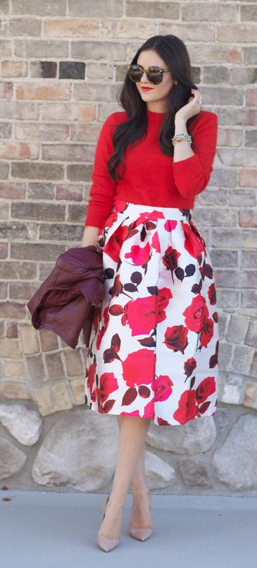 7f882dc8ee Or get bold and scream Spring with a floral print skirt and red top ...