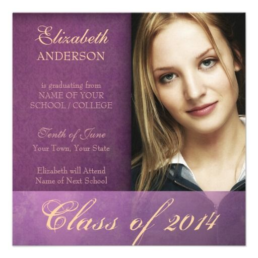 Coupon Code Purple Damask Grunge 2014 Graduation Announcement
