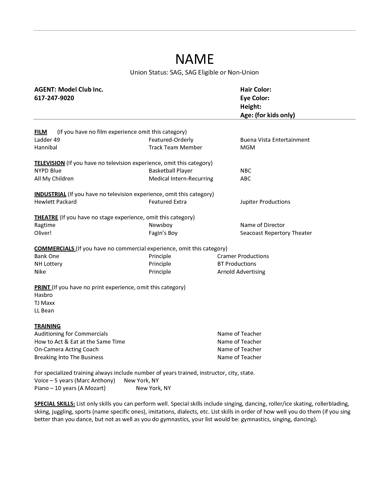 Dance Audition Resume Examples Name Union Status Sag Sag Eligible Or Non Union Agent Model Club Inc Acting Resume Template Acting Resume Resume No Experience