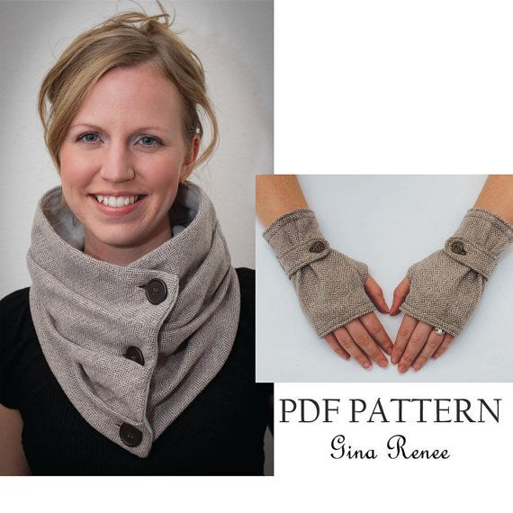 Photo of Combo Infinity Scarf and Fingerless Glove Pattern with Strap. PDF Glove Sewing Patterns.