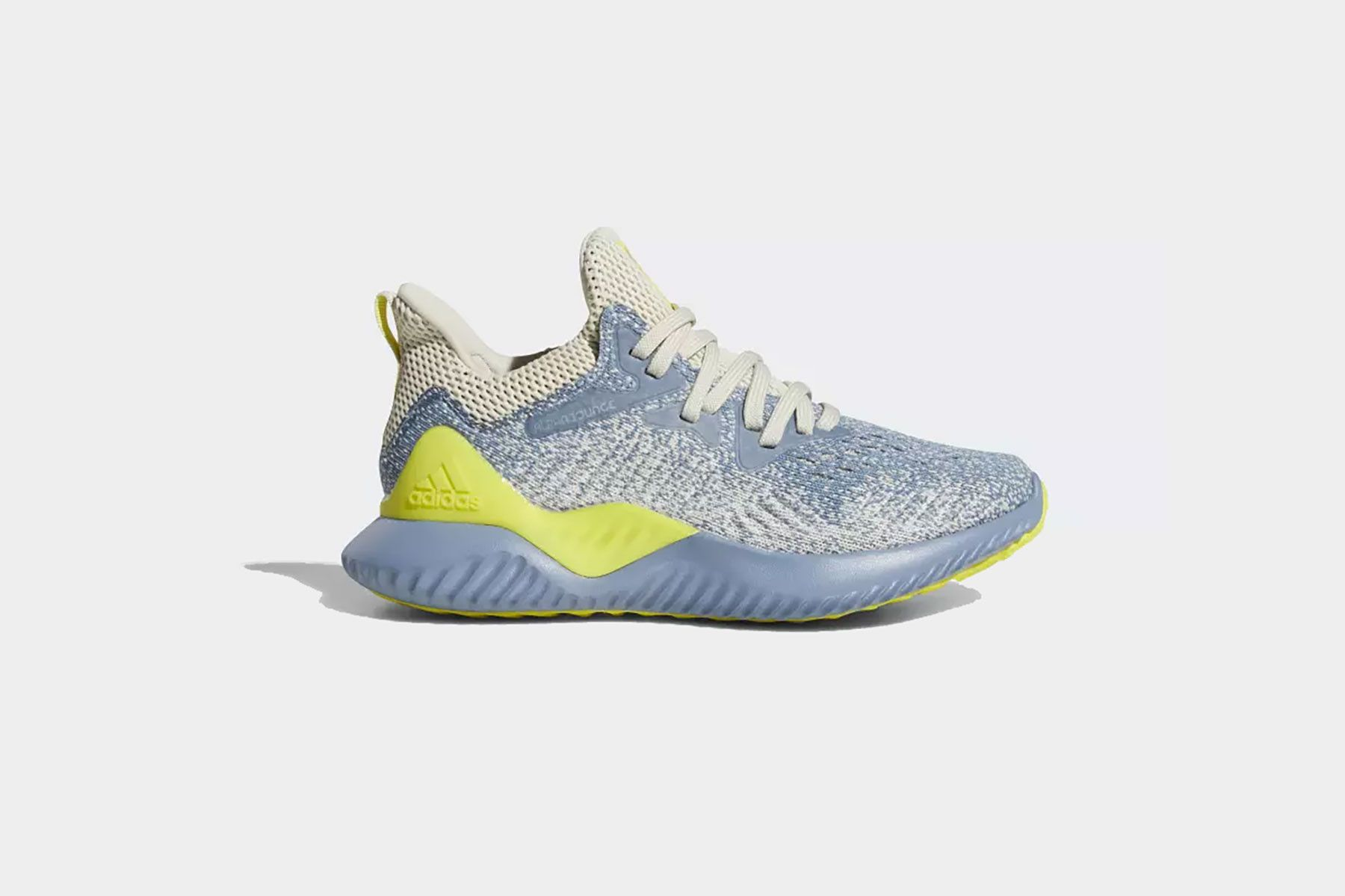 best service dab97 26357 adidas alphabounce running shoes kids blue yellow children steel raw grey  gray shock neon sneakers three stripes originals