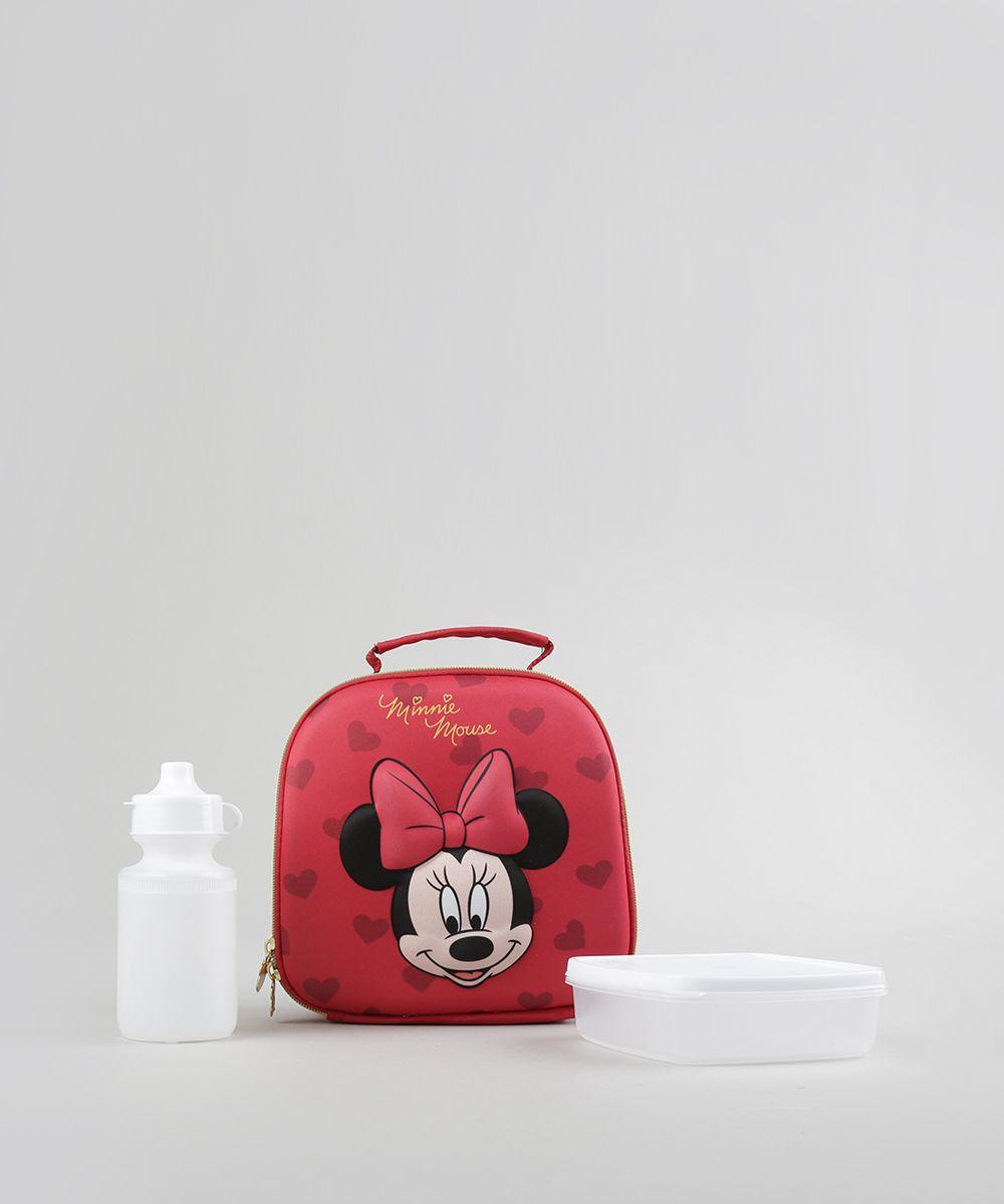 8d5d73f08 Lancheira Térmica Escolar Infantil Minnie 3D Vermelha - Único ...