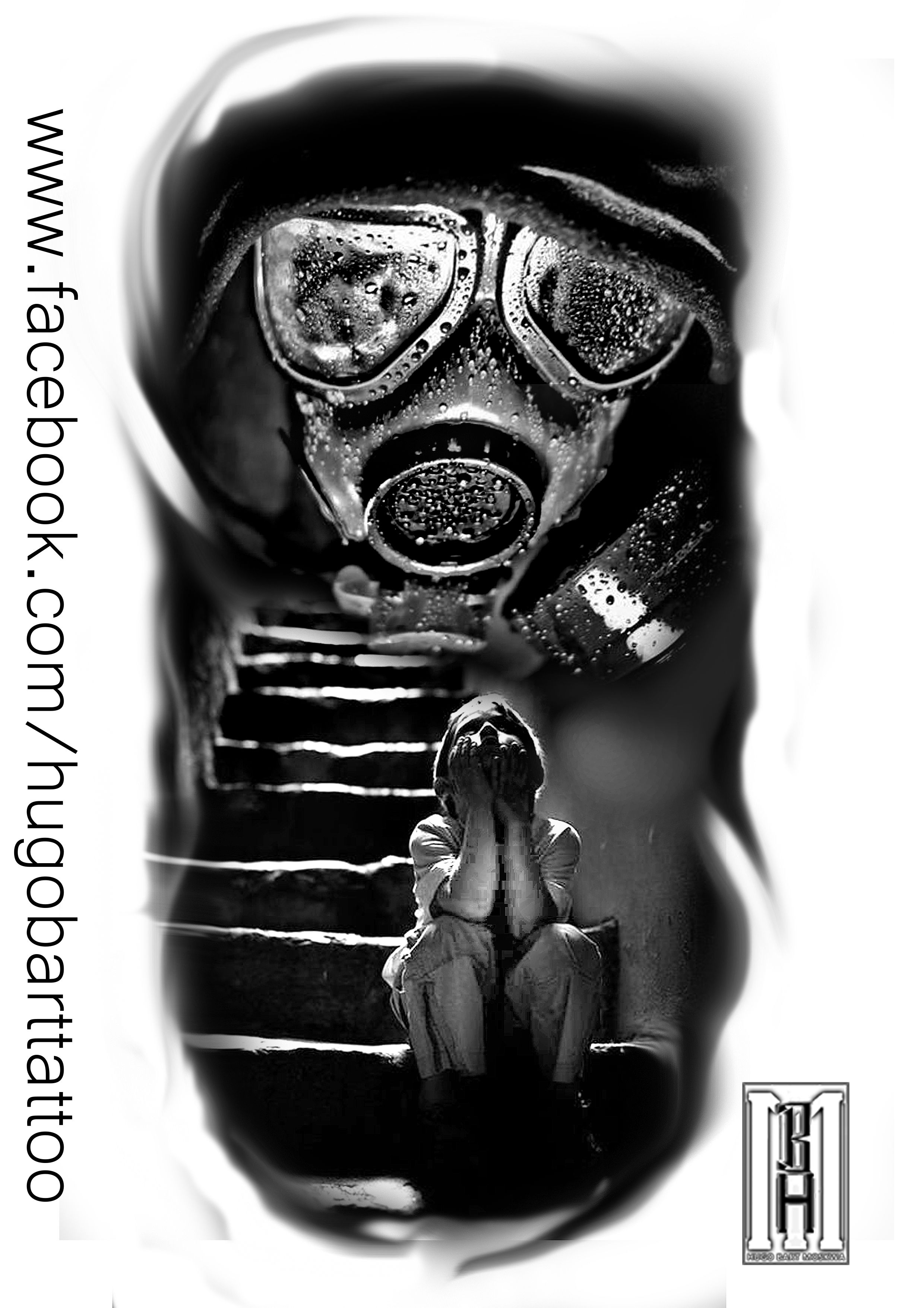 Mask Gasmask Scarry Boy Face Stairs Zombie Creepy Digital Black And