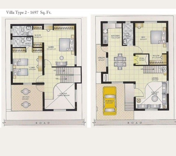 brilliant houses and their floor plans. Decoration  The Brilliant Villa Type With Yellow Car In A Garage New House Plan For