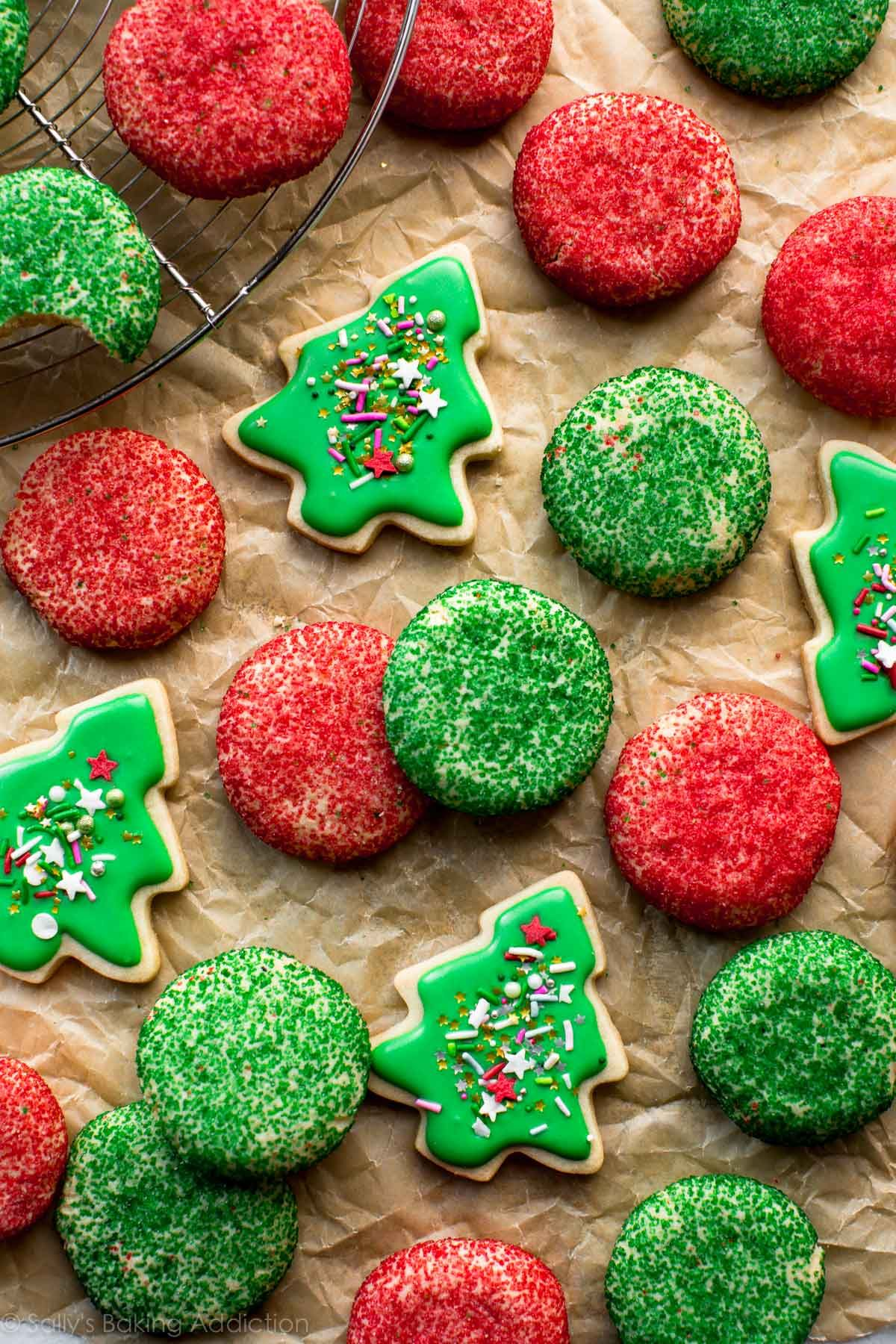 Sparkling green and red cream cheese sugar cookies with