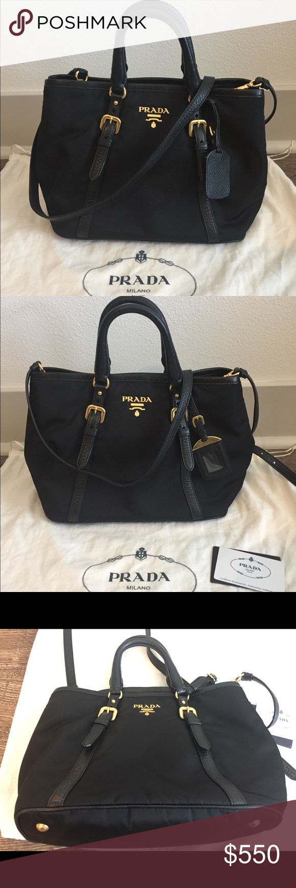 50e3e87c362b Prada nylon small tote w/ shoulder strap Prada BN1841 small black nylon  tote with shoulder strap. Comes with dust bag and authenticity…