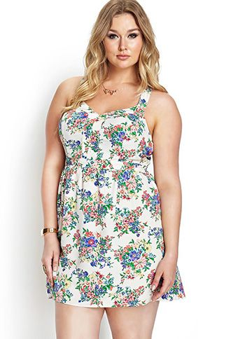 Floral Fields Fit & Flare Dress   FOREVER21 PLUS - 2000107077