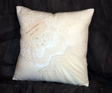 Wedding Dress Pillow Recycle Wedding Dress Wedding Dress Crafts Repurpose Wedding Gown