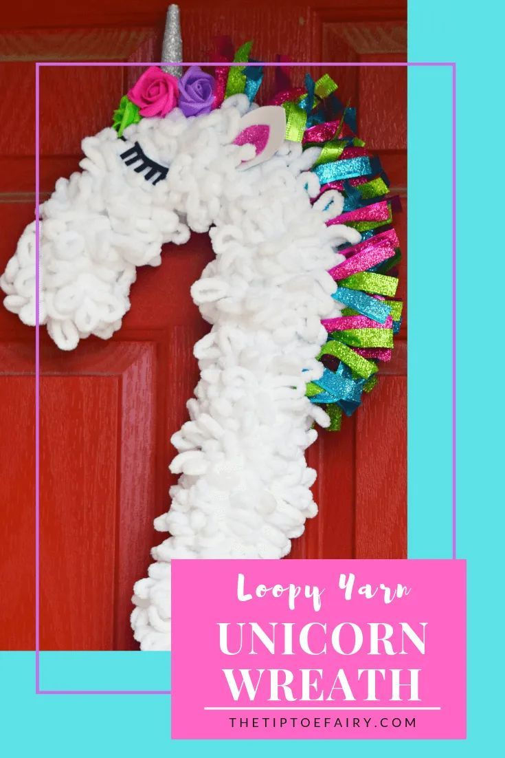 Make a Loopy Yarn Unicorn Wreath #unicorncrafts