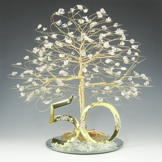 50th Anniversary Gift Cake Topper Or Centerpiece Tree In