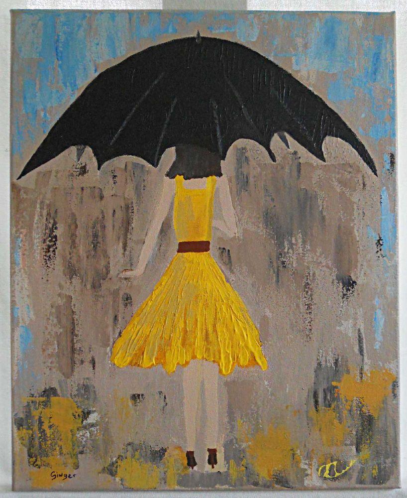 modernist cubist painting from back big umbrella fashionista