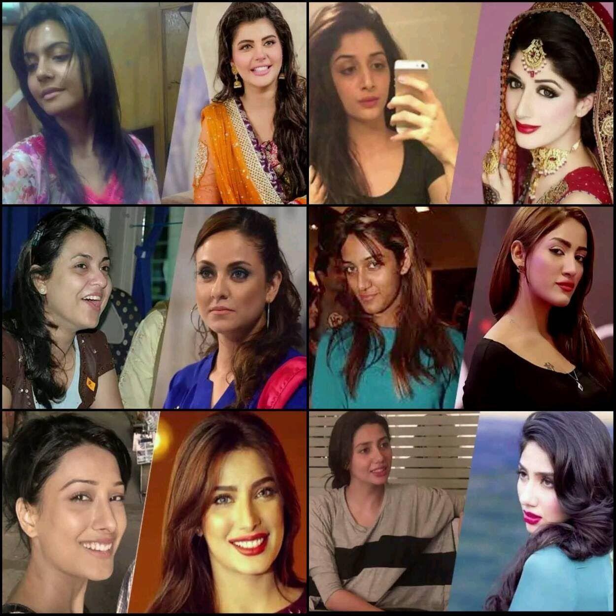 Stani Actresses With And Without Makeup Mahira Khan Nida Yasir
