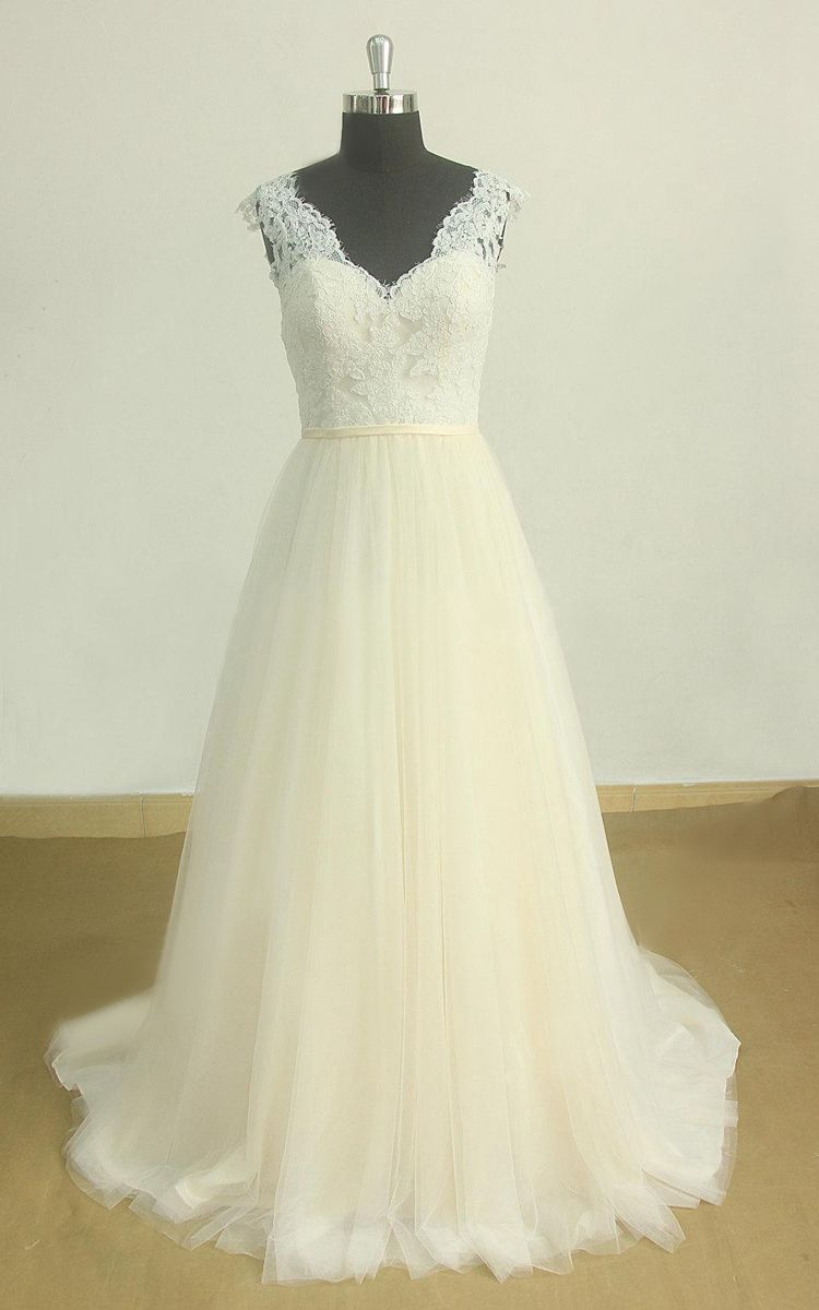 Romantic open back lace tulle wedding with pale blush skirt dress
