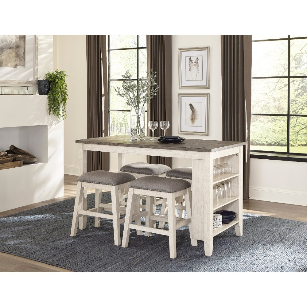 White And Brown 5 Piece Counter Height Dining Set Timbre