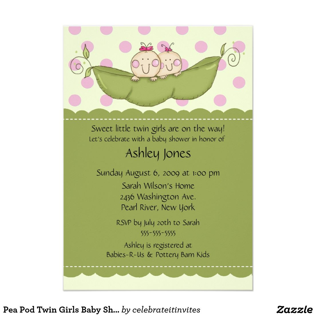 Pea Pod Twin Girls Baby Shower Invitations 5\