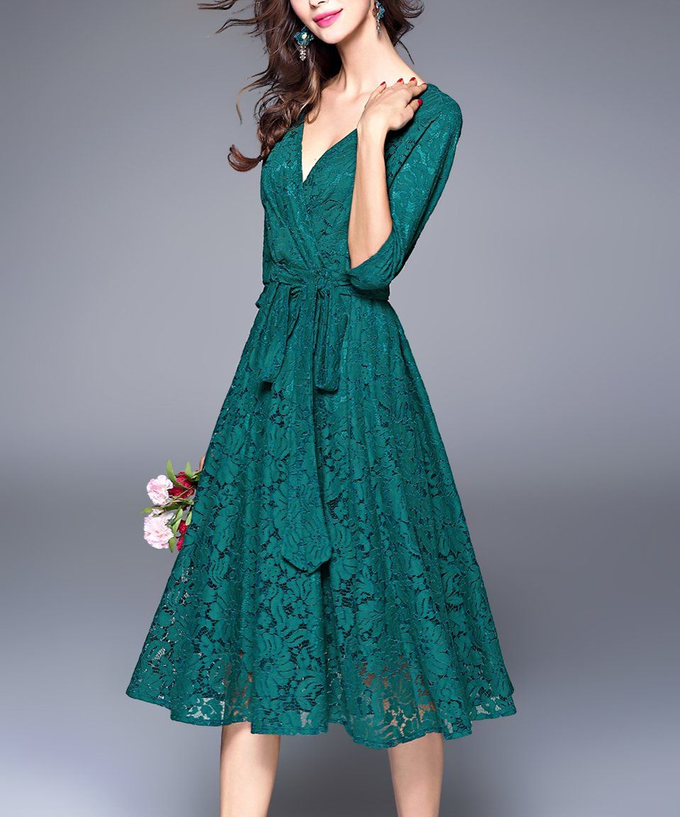 Take a look at this Green Lace Wrap Dress today! | Photography ...