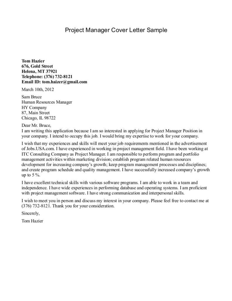 25 Project Manager Cover Letter Project Manager Cover Letter Cover Letter Sample Cover Letter