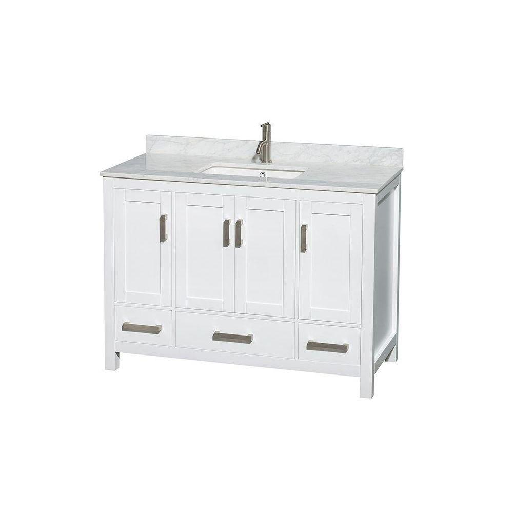 Wyndham Collection Sheffield 48 In Vanity In White With Marble