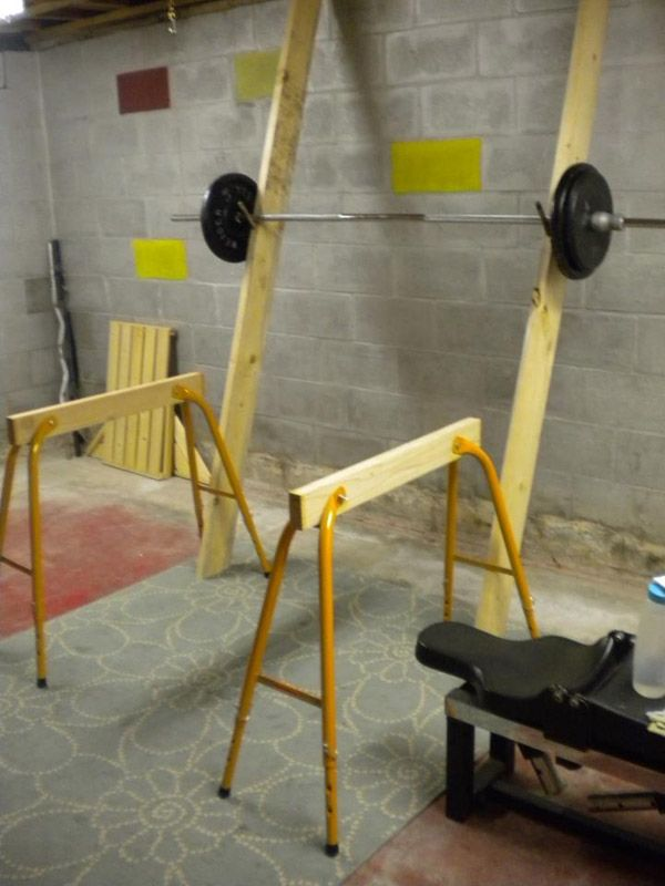 Clever idea for a diy garage gym squat rack
