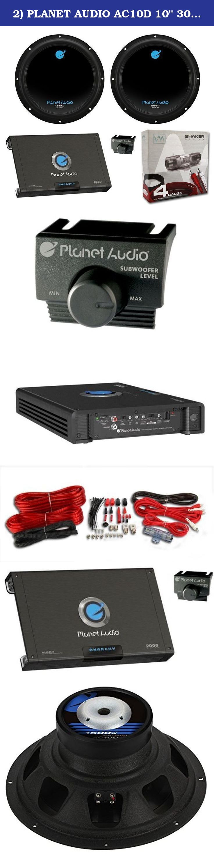 2 Planet Audio Ac10d 10 3000w Car Subwoofers Subs Channel Gauge 2channel Complete Amplifier Kit Vehicle Wire Amp