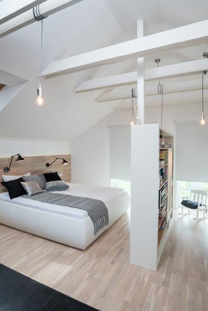 Chambre A Coucher Style Scandinave, Sol En Parquet Clair, Tapis Noir,  Plafond Sous