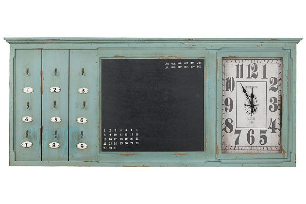 Green Home Accents Key Rack Wall Clock By Ashley Furniture