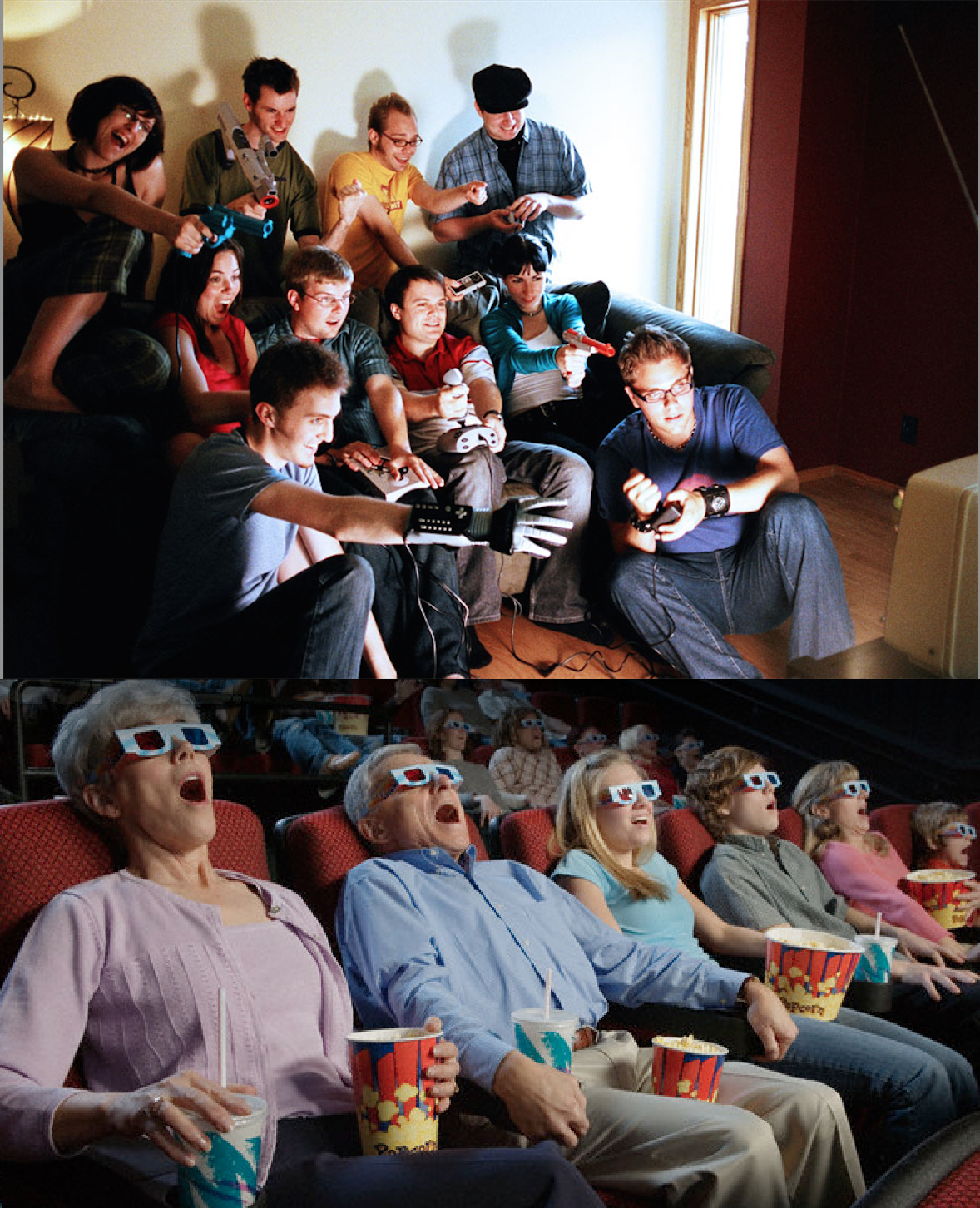 1. In this picture we see two different groups of people. One looks to be a family and the other a group of friends. Each picture, however, shows a group of people coming together and being indulged into both video games and film. This is important because with each medium, we have something that allows the individual to be immersed in the game or film. With the game there is a controller, and in the film there is 3-D glasses.