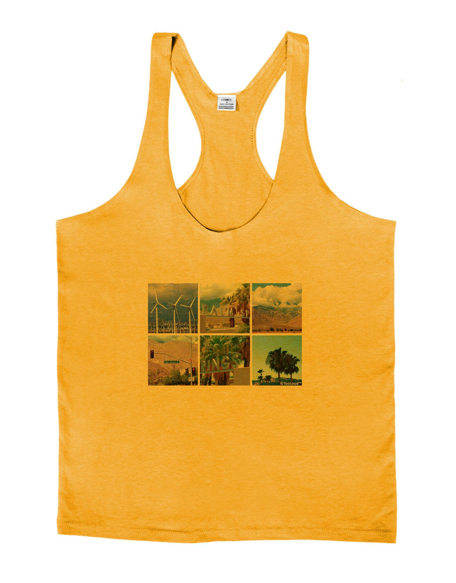 TooLoud Palm Springs Square Collage Mens String Tank Top