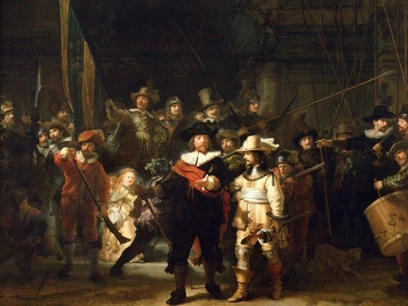 Rembrandt's The Night Watch painting at the Rijskmuseum in Amsterdam.  It is a HUGE painting.