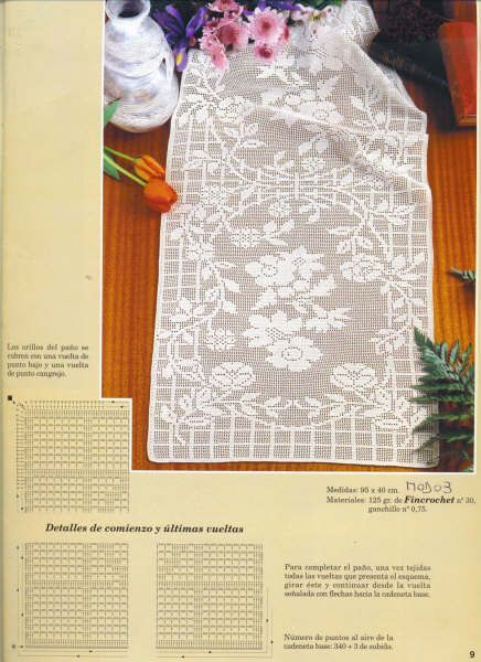Filet crochet table runner - Pattern: http://www.pinterest.com/pin/374291419005220240/