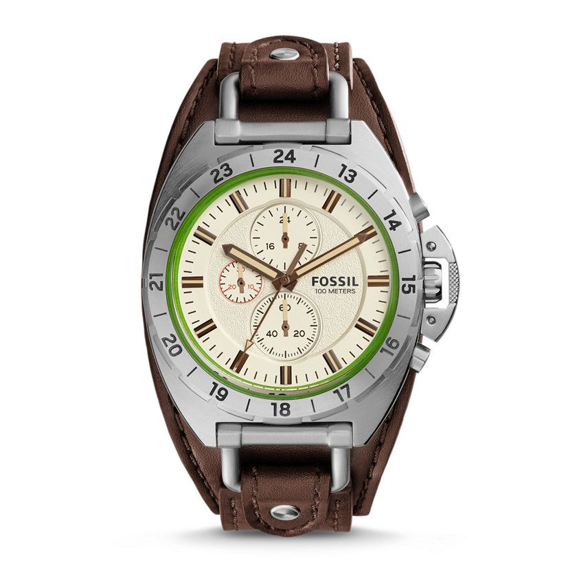 Fossil Breaker All-Terrain Chronograph Leather Watch - Brown