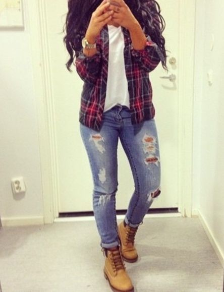 d2501438143 Flannel button down, white tee, ripped faded denim jeans with some tims.  Perfect for a casual fall look.