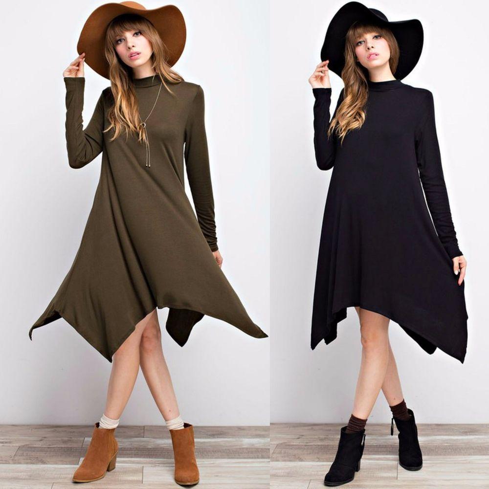 Modal turtleneck swing dress long sleeve hanky hem ladies dress