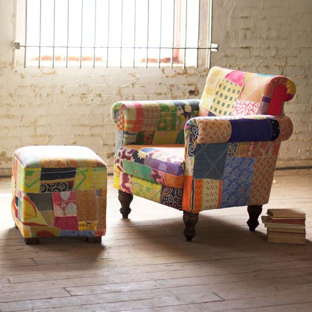 patchwork chair and ottoman