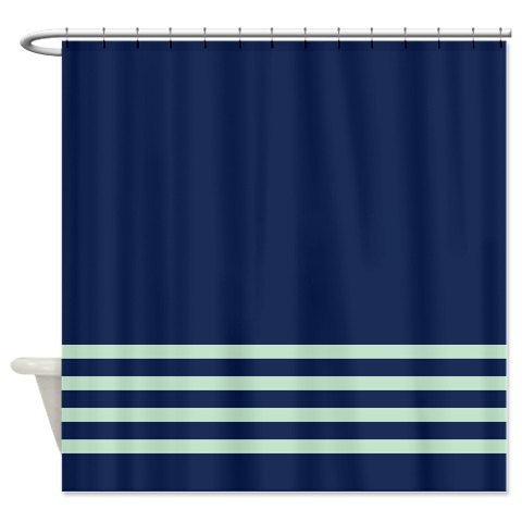 Striped Shower Curtain Navy Blue And Mint Stripes OR Customize Colors Standard Extra Long Sizes Cu