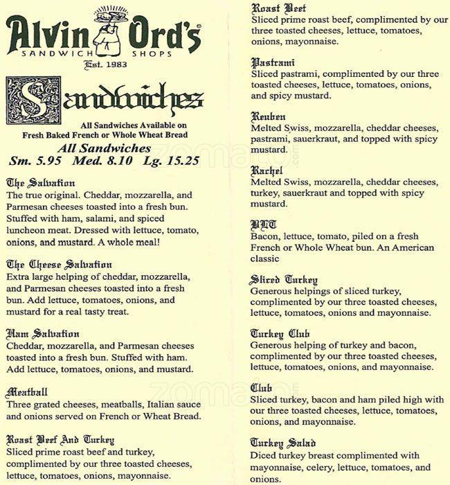 alvin ord's sandwich shop port royal menu with images