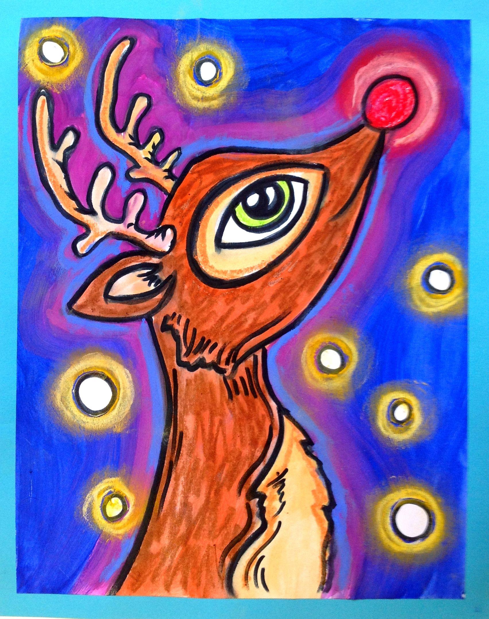 Renne au nez rouge arts plastiques hiver winter - Dessin de renne au nez rouge ...