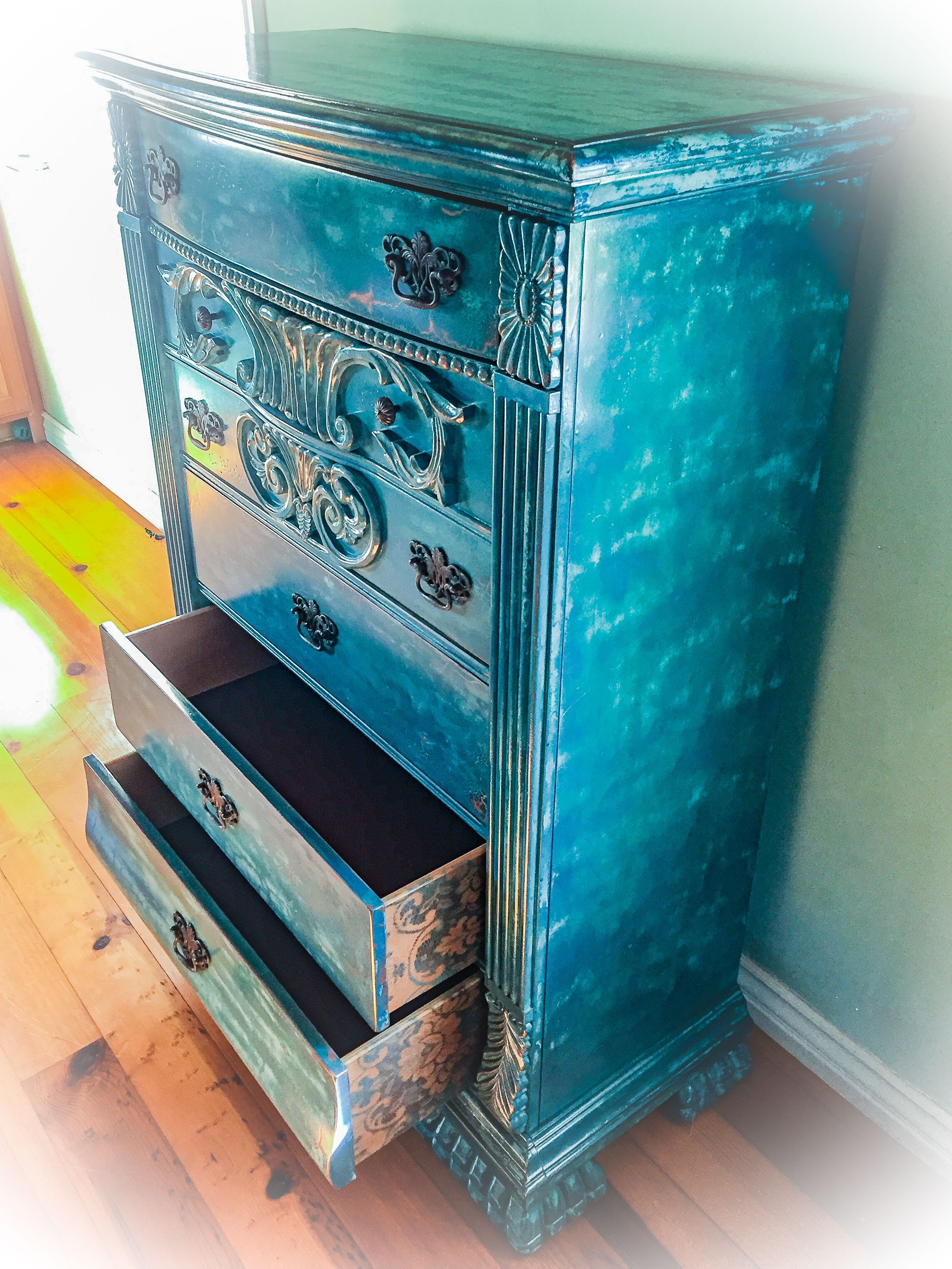 Large, French Country Dresser, solid pine, w/ velvet lined