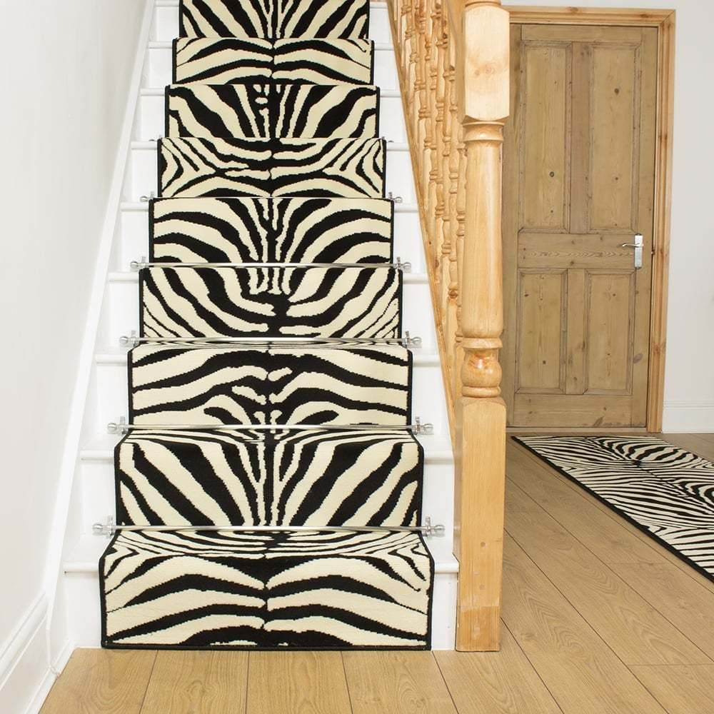 Attractive Zebra Black   Stair Carpet Runner For Narrow Staircase Animal Print Quality  New