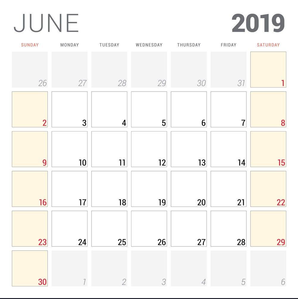 Lunar Calendar For June 2019 Printable Holidays Word Template