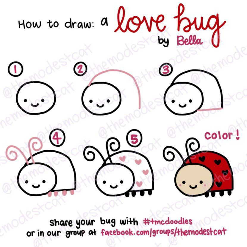 How To Draw A Cute Love Bug Doodle Tutorial With Bella